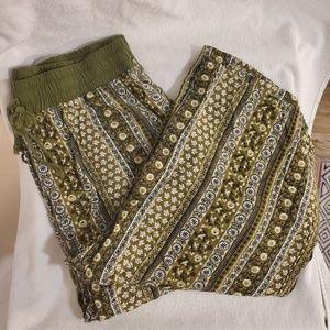 Bebop Green Palazzo/Boho/Tribal Wide Leg Pants XL
